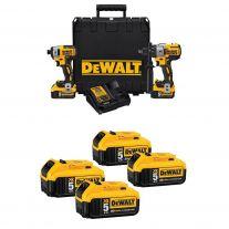 DeWalt 20V MAX Cordless Brushless XR 2-Tool Combo Kit w/ Toughsystem + 4 Free Batteries